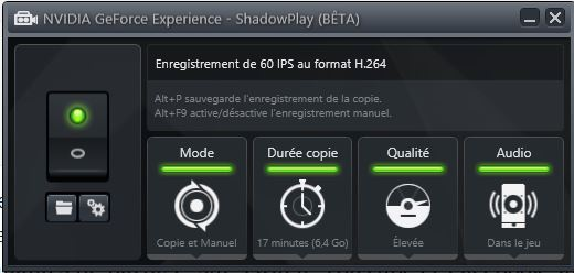 Nvidia Shadowplay : L'interface de configuration
