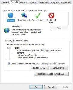Options Internet - Sécurité - Sites sensibles