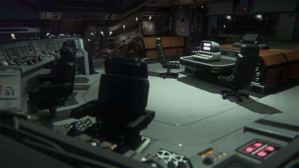 """Alien Isolation - Le vaisseau pleins de gadgets """"futuristes"""" selon la vision des années 80"""