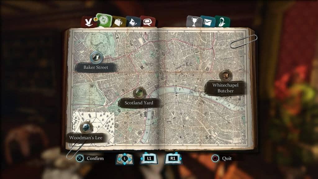 Sherlock Holmes - La carte avec les différents lieux