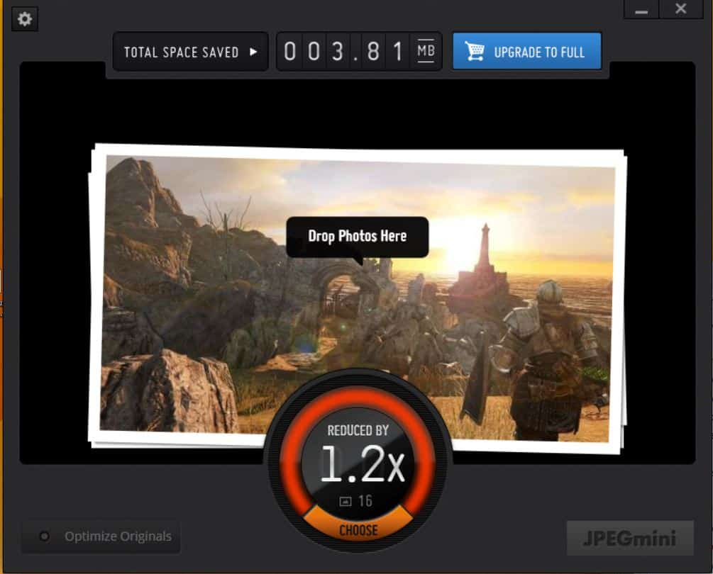 JPEGMini - Glisser vos images sur l'application et laisser la magie opérée