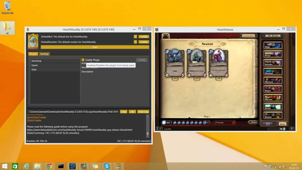 Bot Hearthstone - Hearthbuddy les différents plugins
