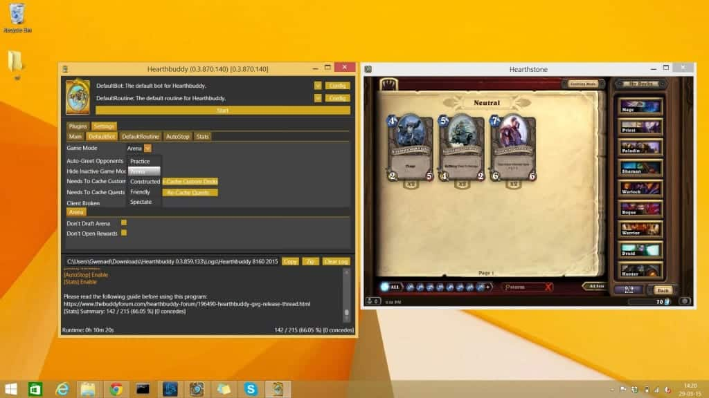 Hearthstone Bot - Les optins arène de hearthbuddy
