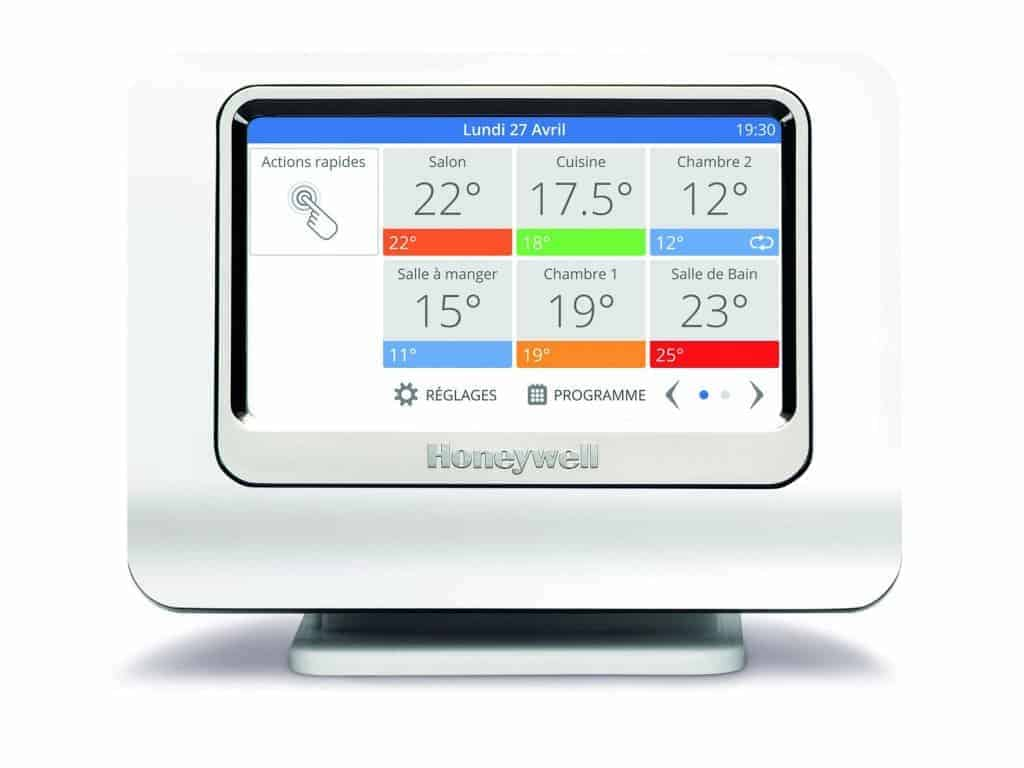Thermostat Honeywell evohome - une interface tactile clair et facile à prendre ne main