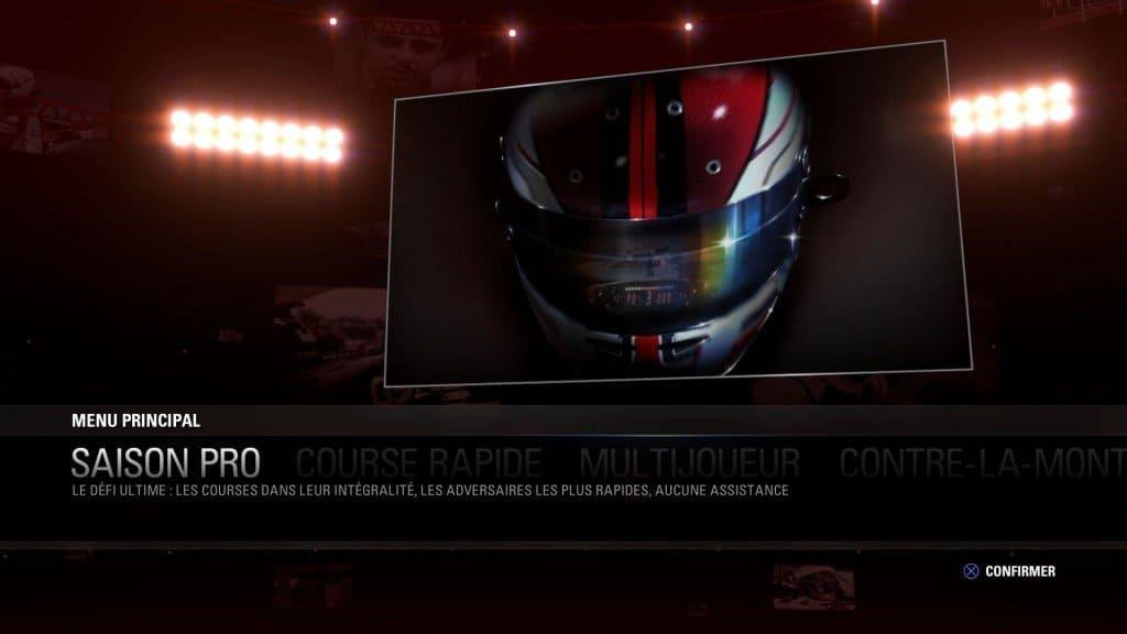 F1 2015 - Un menu trop limité
