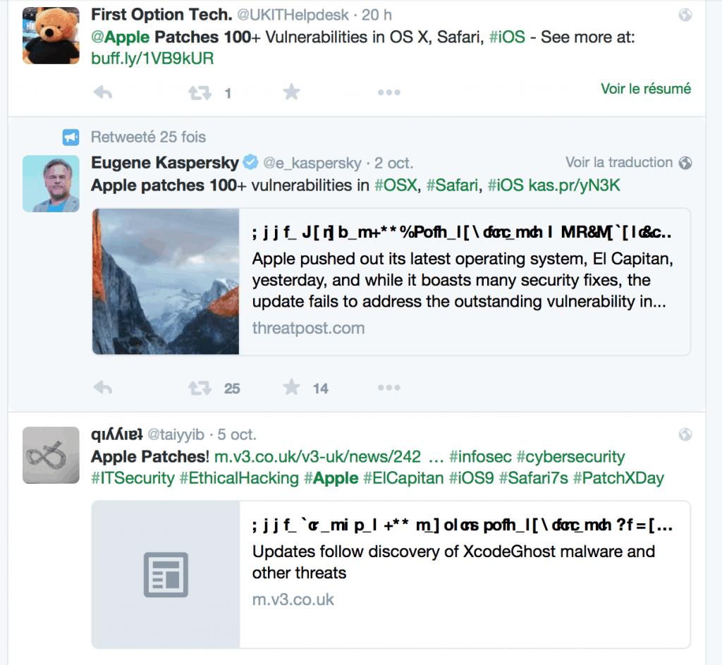 El Capitan : OSX et Safari 9 ne sont pas tendres avec Twitter non plus !