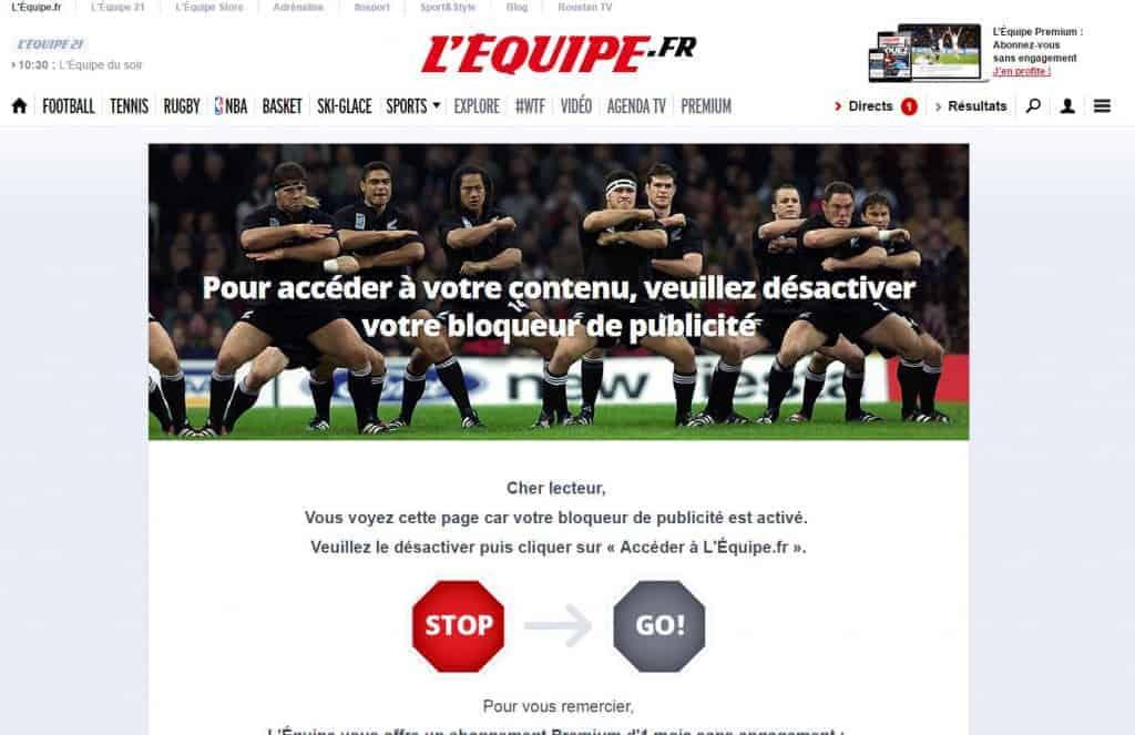 Lequipe.FR - Contenu inaccessible avec adblock