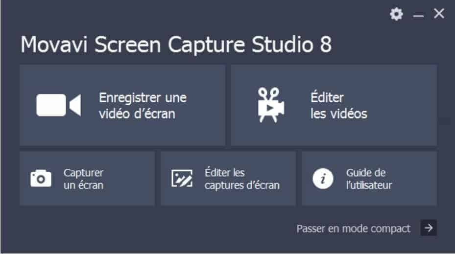 Movavi Screen Capture Studio - L'interface se veut minimaliste