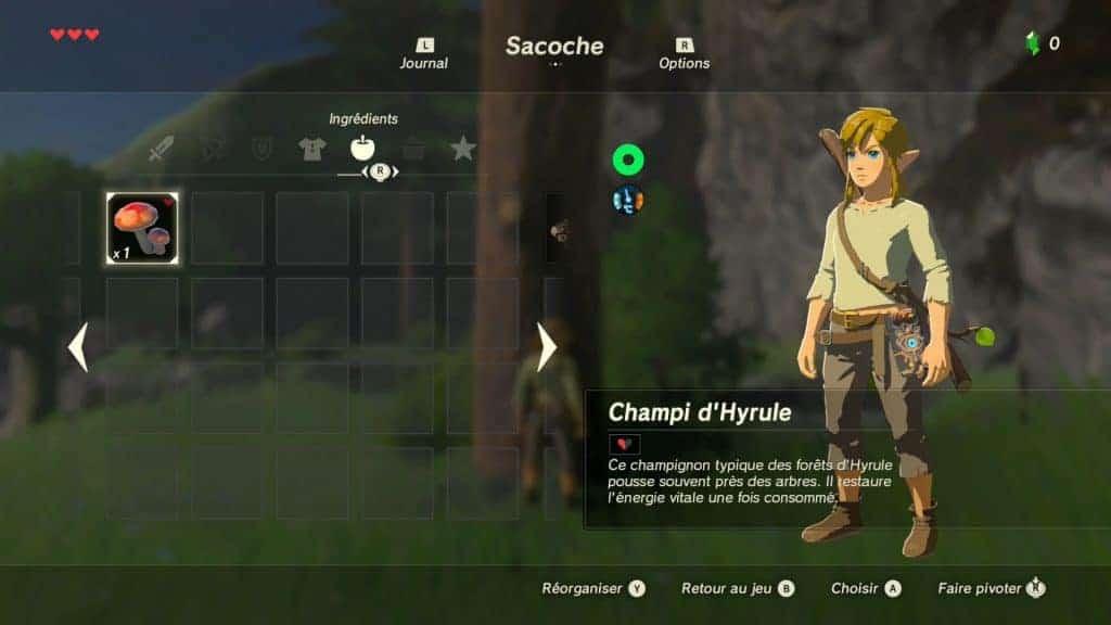 The Legend of Zelda Breath of Wild - Il faudra cueillir et chasser pour récupérer de la vie
