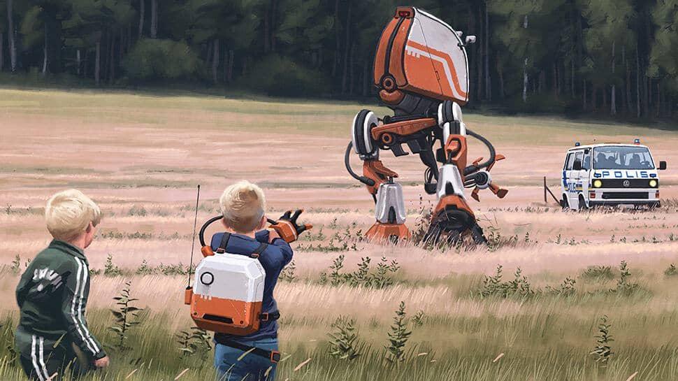 Des enfants manipulent un robot pour faire fuir la police