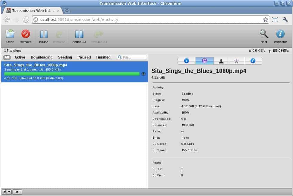 Transmission - un client web pour Torrent