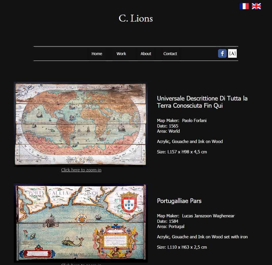 clionsart.com - un site qui reprend ses différentes créations