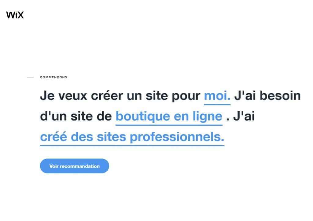 Wix vous demande ce que vous souhaitez pour votre site