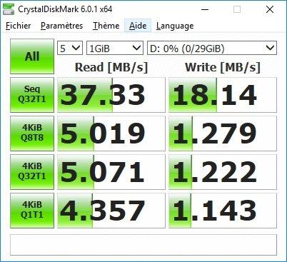 Vitesse lecture/écriture en mode USB 3.1