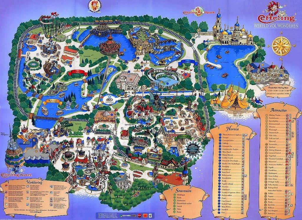 Le plan d'Efteling : le parc est très grand.