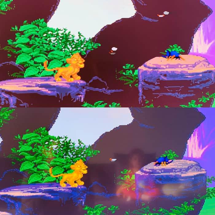 Une image du jeu emulé et de la version du pack en dessous.