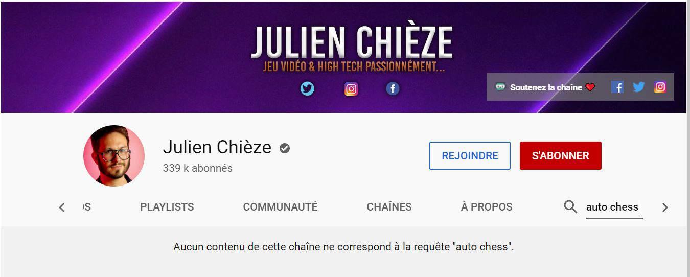 Julien Chièze ne parle pas d'Auto Chess