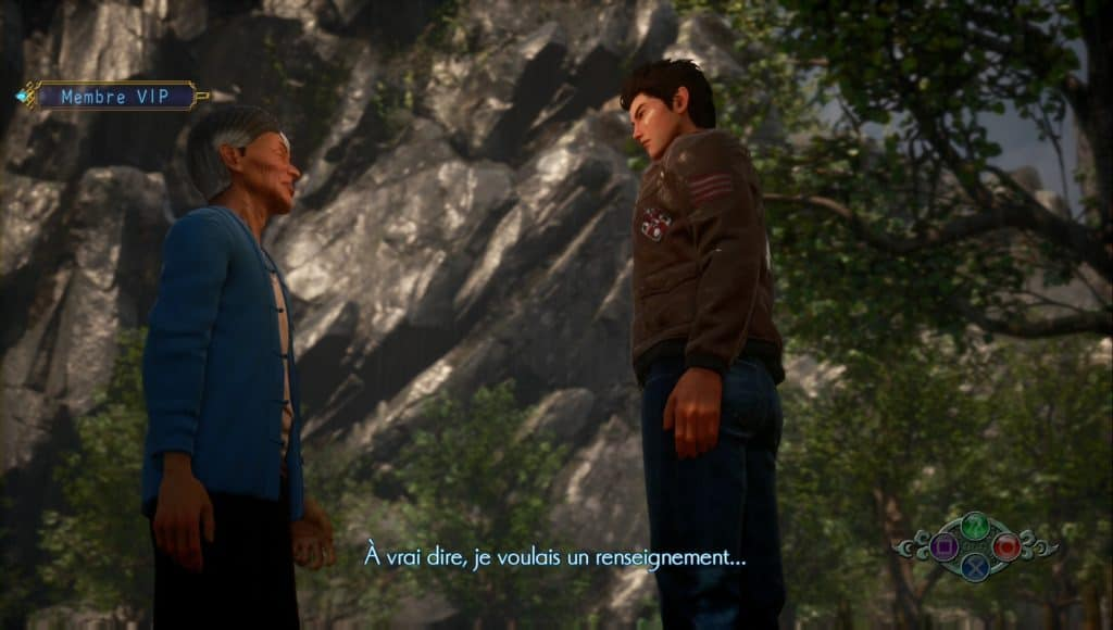 Ryo Hazuki parlant à un inconnu dans Shenmue 3