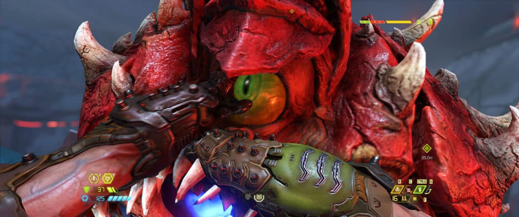 Le personnage de Doom Eternal arrachant l'oeil d'un démon