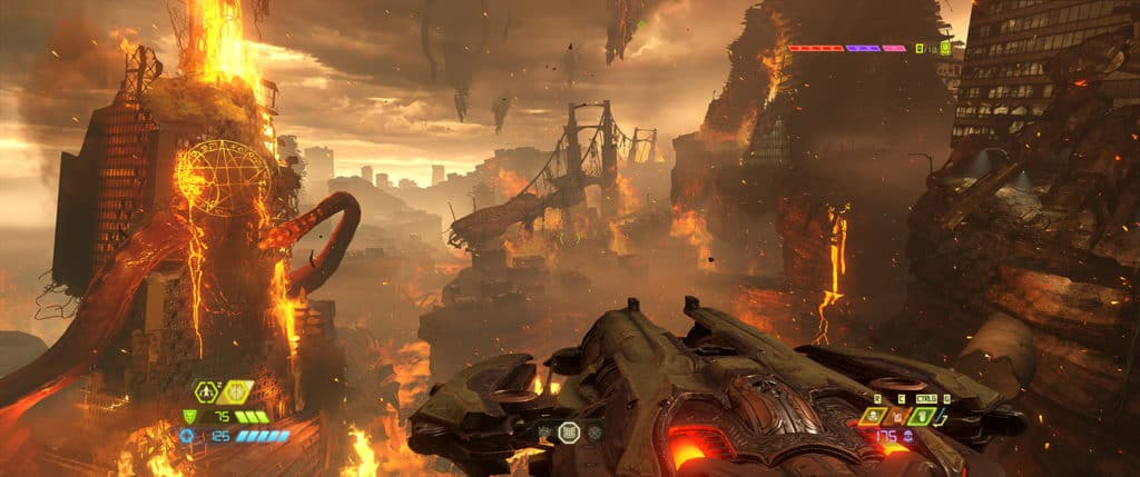 Un paysage apocalyptique de Doom Eternal