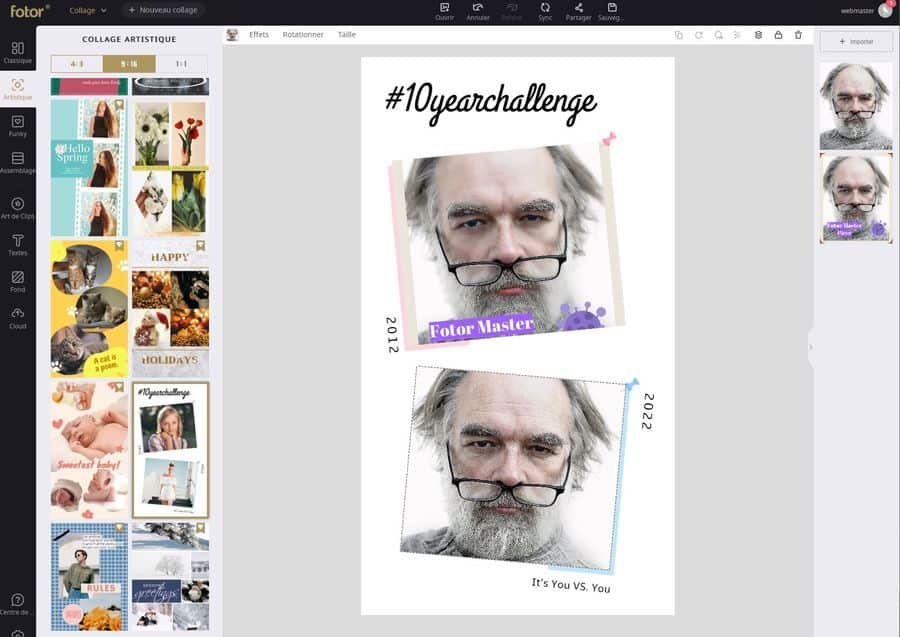 Un tas de collages sont disponibles avec des templates sur tous les thèmes