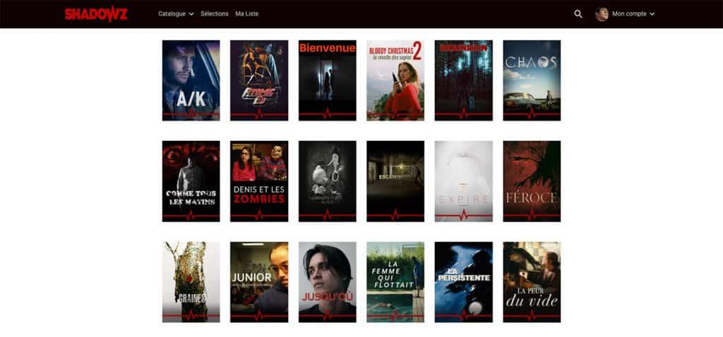 Quelques courts-métrages disponibles sur Shadowz