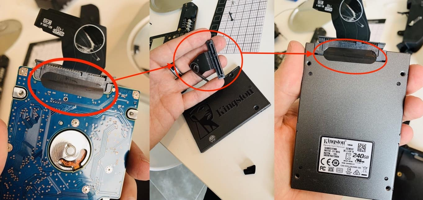 Faites bien attention à retirer le collant qui maintient le connecteur SATA et remettez-le par après s'il colle encore suffisamment