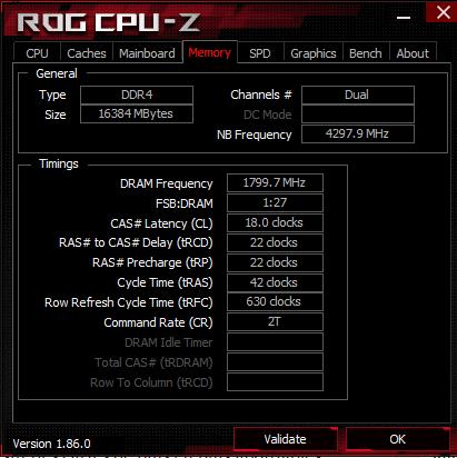 CPU-Z pour vérifier le paramétrage des T-Force Xtreem