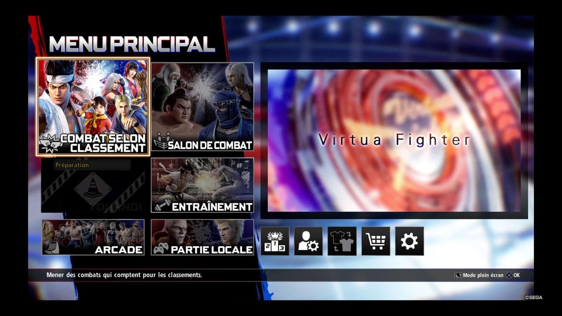 VF5 ultimate menu