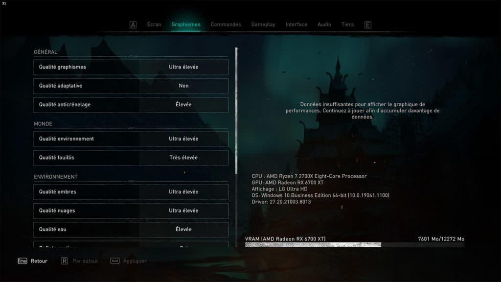 Les paramètres d'Assassin's Creed Valhalla avec une RX 6700 XT